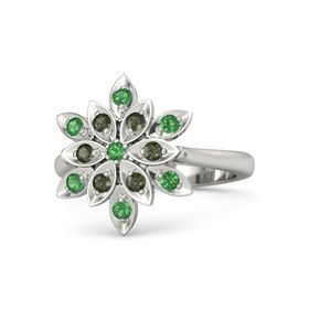 Round Emerald 14K White Gold Ring with Green Tourmaline and Emerald