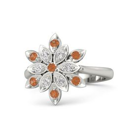 Round Fire Opal 14K White Gold Ring with White Sapphire and Fire Opal