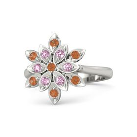 Round Fire Opal 14K White Gold Ring with Pink Sapphire and Fire Opal
