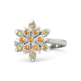 Round Citrine 14K White Gold Ring with Citrine and Yellow Sapphire
