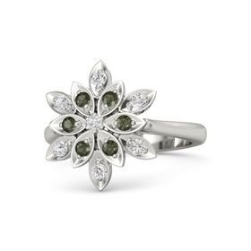 Round White Sapphire 14K White Gold Ring with Green Tourmaline and White Sapphire