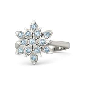 Round Aquamarine 14K White Gold Ring with Aquamarine