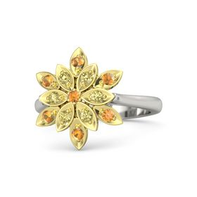 Round Citrine 14K White Gold Ring with Yellow Sapphire and Citrine