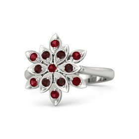 Round Ruby 14K White Gold Ring with Red Garnet and Ruby