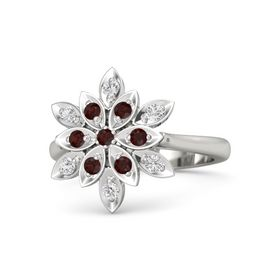 Round Red Garnet 14K White Gold Ring with Red Garnet and White Sapphire