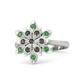Round Green Tourmaline 14K White Gold Ring with Green Tourmaline and Emerald