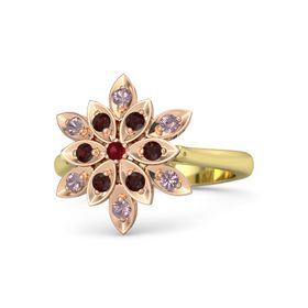 Round Ruby 14K Yellow Gold Ring with Red Garnet and Rhodolite Garnet