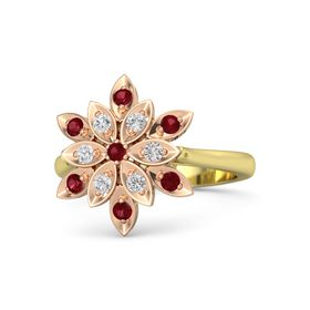 Round Ruby 14K Yellow Gold Ring with White Sapphire and Ruby