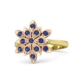 Round Blue Sapphire 14K Yellow Gold Ring with Blue Sapphire