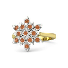 Round Fire Opal 14K Yellow Gold Ring with Fire Opal