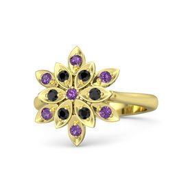 Round Amethyst 14K Yellow Gold Ring with Black Diamond and Amethyst