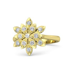 Round Rock Crystal 14K Yellow Gold Ring with White Sapphire and Diamond