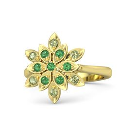 Round Emerald 14K Yellow Gold Ring with Emerald and Peridot
