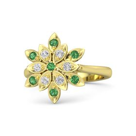 Round Emerald 14K Yellow Gold Ring with White Sapphire and Emerald