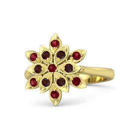 Round Ruby 14K Yellow Gold Ring with Red Garnet and Ruby