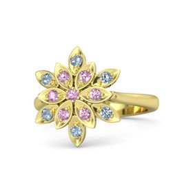 Round Pink Tourmaline 14K Yellow Gold Ring with Pink Sapphire and Blue Topaz