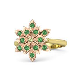 Round Peridot 14K Yellow Gold Ring with Emerald
