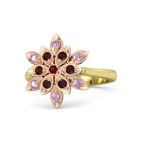 Round Ruby 14K Yellow Gold Ring with Red Garnet and Pink Sapphire