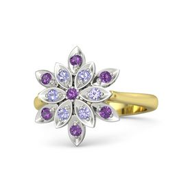 Round Amethyst 14K Yellow Gold Ring with Tanzanite and Amethyst
