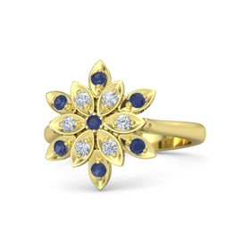 Round Blue Sapphire 14K Yellow Gold Ring with Diamond and Blue Sapphire