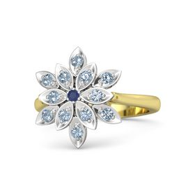 Round Blue Sapphire 14K Yellow Gold Ring with Blue Topaz