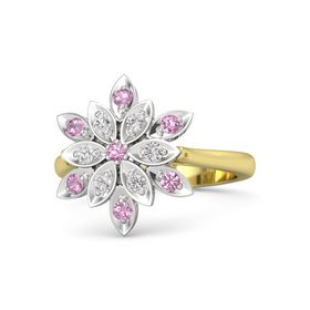 Round Pink Tourmaline 14K Yellow Gold Ring with White Sapphire and Pink Tourmaline