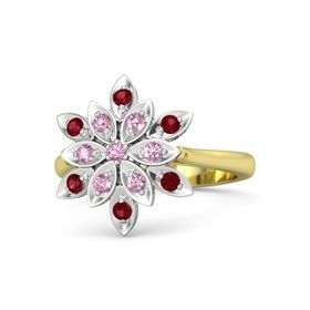 Round Pink Tourmaline 14K Yellow Gold Ring with Pink Sapphire and Ruby