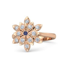 Round Blue Sapphire 18K Rose Gold Ring with Diamond