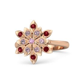 Round Pink Tourmaline 18K Rose Gold Ring with Rhodolite Garnet and Ruby
