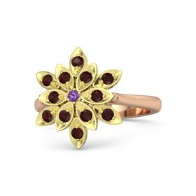 Round Amethyst 18K Rose Gold Ring with Red Garnet