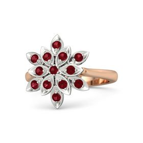 Round Ruby 18K Rose Gold Ring with Ruby