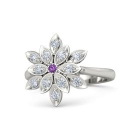Round Amethyst 18K White Gold Ring with Diamond