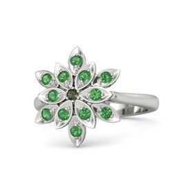 Round Green Tourmaline 18K White Gold Ring with Emerald