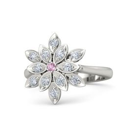 Round Pink Sapphire Palladium Ring with Diamond