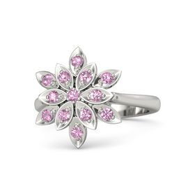 Round Pink Tourmaline Palladium Ring with Pink Sapphire and Pink Tourmaline