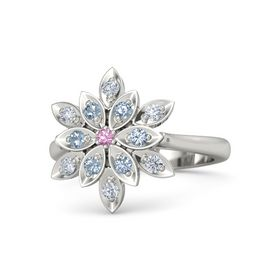 Round Pink Tourmaline Palladium Ring with Blue Topaz and Diamond