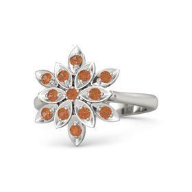 Round Fire Opal Platinum Ring with Fire Opal