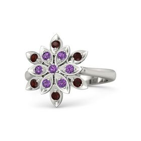 Round Amethyst Platinum Ring with Amethyst and Red Garnet