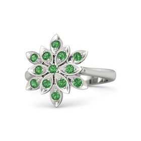 Round Emerald Platinum Ring with Emerald