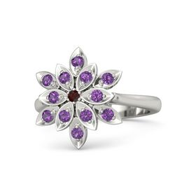 Round Red Garnet Platinum Ring with Amethyst