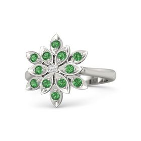 Round White Sapphire Platinum Ring with Emerald