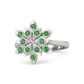 Round Pink Sapphire Platinum Ring with Emerald