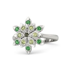 Round Green Tourmaline Platinum Ring with Peridot and Emerald