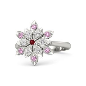 Round Ruby Platinum Ring with White Sapphire and Pink Tourmaline