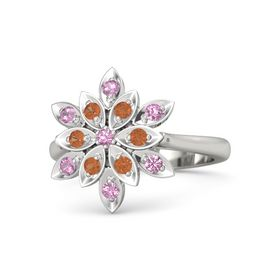 Round Pink Tourmaline Platinum Ring with Fire Opal and Pink Tourmaline
