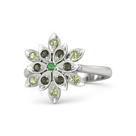 Round Emerald Sterling Silver Ring with Green Tourmaline and Peridot