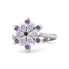 Round Black Diamond Sterling Silver Ring with Tanzanite and Amethyst