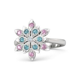 Round Diamond Sterling Silver Ring with London Blue Topaz and Pink Sapphire