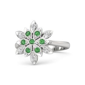 Round Emerald Sterling Silver Ring with Emerald and White Sapphire