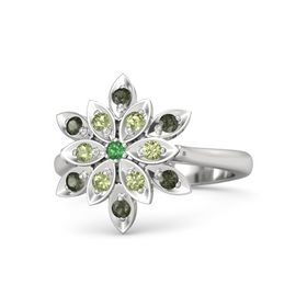 Round Emerald Sterling Silver Ring with Peridot and Green Tourmaline
